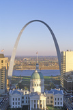 St. Louis Arch with Old Courthouse and Mississippi River, MO Photographic Print