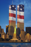 World Trade Center with American Flag Superimposed Fotografisk tryk