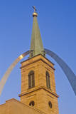 Historic Christ Cathedral Church and St. Louis Arch, MO Photographic Print