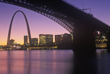 Sunset View of St. Louis, Mo Skyline and Eads Bridge Photographic Print