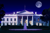 Digital Composite: the White House, Washington D.C. and Full Moon Photographic Print