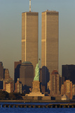 These are the World Trade Towers and Statue of Liberty at Sunset. it Is the View from New Jersey Photographic Print