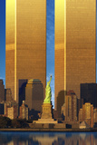 Enlarged World Trade Center Behind Statue of Liberty Photographic Print
