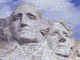 Digital Mosaic of Small Images Comprising Washington and Jefferson on Mt. Rsuhmore Photographic Print