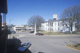 Lafayette County Court House in Center of Historic Old Southern Town and Storefronts of Oxford, Ms Photographic Print