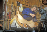 Women Works on Saddle at Three Forks Custom Saddlery, Mt Photographic Print