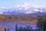 View of Mt. Mckinley and Mt. Denali from George Park Highway, Route 3, Alaska Photographic Print