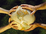 Globe in Hands, Environmental Care Photographic Print