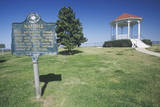 Welcome to Natchez, Ms - Sign and Gazebo in Roadside Park Overlooking Ms River Photographic Print