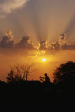 This Is a Silhouetted Farmer on a Tractor in the Midwest. it Shows Rural Farming at Sunset Photographic Print