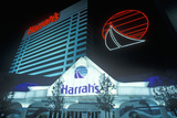 Exterior of Harrah's Gambling Casino at Night in Atlantic City, NJ Photographic Print