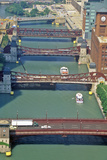 Bridges over the Chicago River, Chicago, Illinois Photographic Print