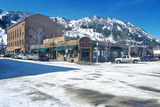 Storefronts and Ski Slope in the Town of Aspen, Colorado Photographic Print