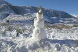 Snowman in Fresh Snowfall Along Highway 33 North of Ojai, California Photographic Print