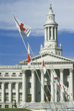 Red Cross Flags Flying at County Building, Denver, Colorado Photographic Print