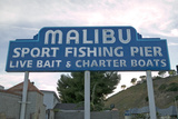 "The ""Malibu Sport Fishing Pier"" Sign at the Newly Remodeled Malibu Pier, Malibu, California Photographic Print"