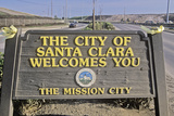"""The City of Santa Clara Welcomes You"" Sign, Santa Clara, Silicon Valley, California Photographic Print"