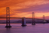 Sunset on the Bay Bridge to San Francisco from Treasure Island, California Photographic Print