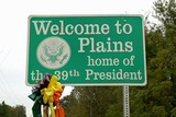 """Welcome to Plains"" Sign, the Home of the 39th President, Jimmy Carter, Plains, Georgia Photographic Print"