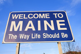 Welcome to Maine Sign Photographic Print