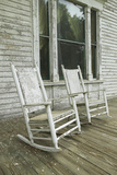 Rocking Chairs on Porch of Southern House in Disrepair Along Highway 22 in Central Georgia Photographic Print