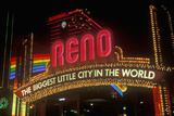 Neon Lights at Night in Reno, NV Photographic Print