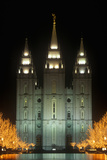 Historic Temple and Square in Salt Lake City at Night, During 2002 Winter Olympics, Ut Photographic Print