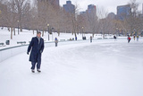 Man Ice Skates at Boston Common Ice Skating Rink and Frog Pond, Boston, Ma., New England, USA Photographic Print