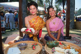 Two Thai Women Wearing Traditional Costumes, Lotus Festival in Echo Park, Los Angeles, CA Photographic Print