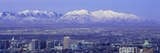 Panoramic Sunset of Salt Lake City with Snow Capped Wasatch Mountains Photographic Print