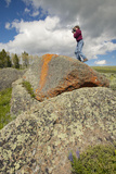 Photographer and Ancient Orange Lichens Growing on Rocks in Centennial Valley Near Lakeview, Mt Photographic Print