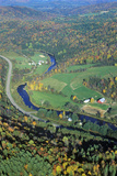 Aerial View of Farm Near Stowe, VT in Autumn on Scenic Route 100 Photographic Print