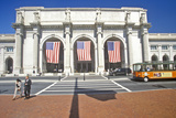 American Flags Fly at Union Station, Washington, DC Photographic Print