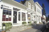 White Wooden Storefronts in Autumn, Stockbridge, MA Photographic Print