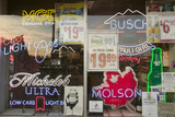 Beer Signs in Neon in Liquor Store Window of Connecticut Photographic Print