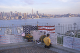 September 11, 2001 Memorial on Rooftop Looking over Weehawken, New Jersey, New York City, NY Photographic Print