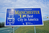 Road Sign in Manchester, Nh, Best City in America Photographic Print