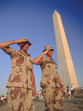 Soldiers Salute at Desert Storm Victory Parade, Washington DC Photographic Print