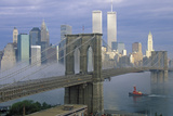 View of New York Skyline, Brooklyn Bridge over the East River and Tugboat in Fog, NY Photographic Print