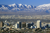 Skyline of Salt Lake City, Ut with Snow Capped Wasatch Mountains in Background Photographic Print