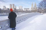 Man Red Stocking Cap Looks at Pond in Fresh Snow in Central Park, Manhattan, New York City, NY Photographic Print