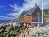Lobster House on Edge of Penobscot Bay in Stonington Me in Autumn Photographic Print
