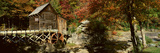 Panoramic of Glade Creek Grist Mil and Autumn Reflections and Waterfall in Babcock State Park, WV Photographic Print