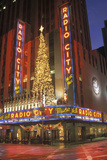Nightlights and Red Reflection of Radio City Music Hall in Manhattan, Ny with Christmas Lights Photographic Print