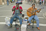 Two Musicians Perform in Street of French Quarter Near Bourbon Street in New Orleans, Louisiana Photographic Print