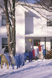Clothes on Laundry Line in Snowy Yard, Woodstock, NY Photographic Print