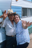 A Mexican-American Couple Waving, NM Photographic Print