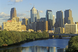 Sunset over Philadelphia Skyline from the Schuylkill River, PA Photographic Print