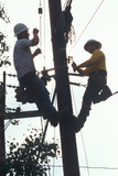 Two Repairmen on a Telephone Pole Working on the CAble, Ojai, CA Photographic Print