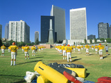 High School Football Practice, Century City, California Photographic Print